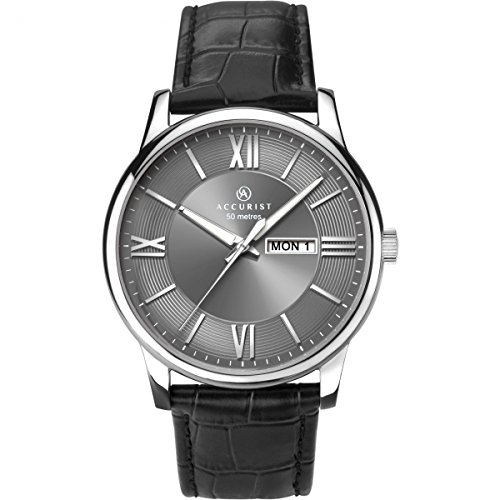 Accurist Mens Analogue Quartz Watch With Grey Dial And Black Leather Strap 7189