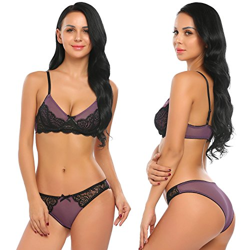 Night And Day Underwired Bra (Ekouaer Women Sexy Lingerie Bralette Underwired Bra and Panty Set(Purple,Large))