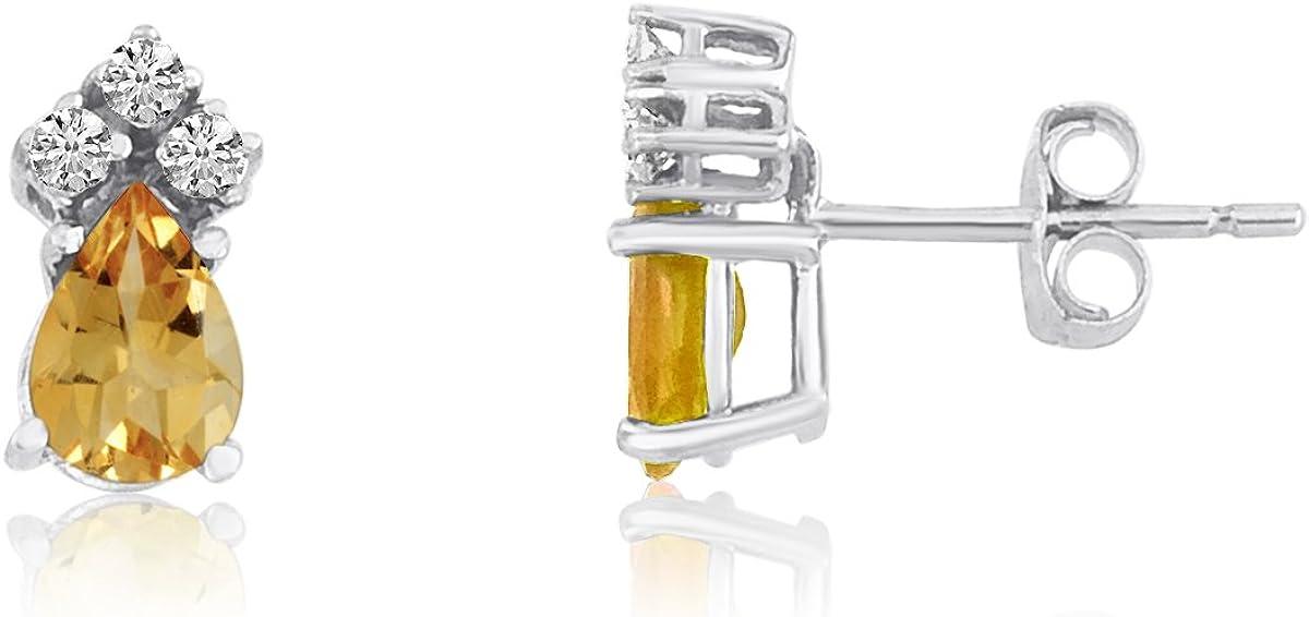 14K Oro Blanco Citrino Pear Pendientes con diamantes