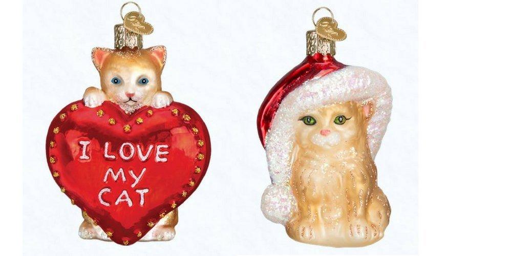 Old World Christmas I Love My Cat Santas Kitten Set Glass Blown Ornaments