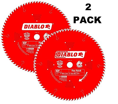 2 Pack Freud D1296L Diablo Melamine, Laminate Flooring, and Wood Saw Blade 12-Inch Diameter 96t TCG 1-Inch Arbor