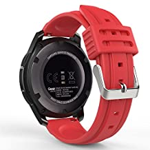 Gear S3 Watch Band, MoKo Soft Silicone Replacement Sport Strap for Samsung Gear S3 Frontier / S3 Classic / Moto 360 2nd Gen 46mm / Garmin Vivomove Smart Watch, NOT FIT S2 & S2 Classic & Fit2, RED