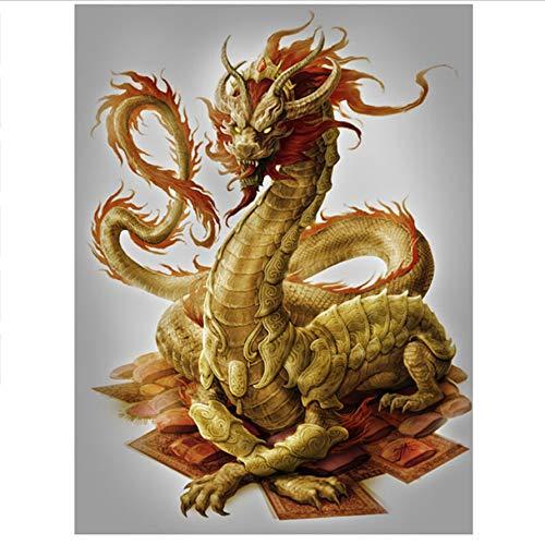 - GIZIGI New DIY 5D Diamond Painting Gold Dragon Square Mosaic Embroidery Long Icon Pattern Decorative 40X50 cm Frameless