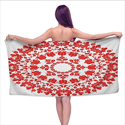 (Sports Towel Red Mandala,Hungarian Round Folk Art Pattern Tulips Traditional Kalocsai Old Fashioned, Red and White,W31 xL63 for bathrooms, Beaches, Parties)