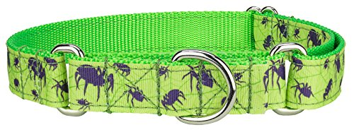 Country Brook Design Itsy Bitsy Spider Ribbon Martingale Dog Collar - Large