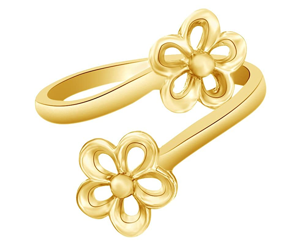 Wishrocks 14K Gold Over Sterling Silver Adjustable Double Flower Bypass Toe Ring