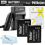 2 Pack Battery And Charger Kit For Nikon COOLPIX S9900, A900, S9500, S9300 S6300, S9200, AW120, AW130, S9700, KeyMission 360, KeyMission 170 Camera Includes 2 Replacement EN-EL12 Batteries + Charger +
