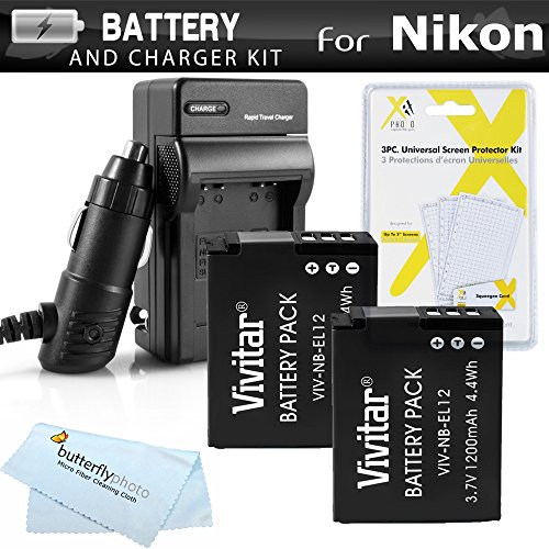 Deluxe Travel Car Charger (2 Pack Battery And Charger Kit For Nikon COOLPIX S9900, A900, W300, S9300 S6300, S9200, AW120, AW130, S9700, KeyMission 360, KeyMission 170 Camera Includes 2 Replacement EN-EL12 Batteries + Charger +)