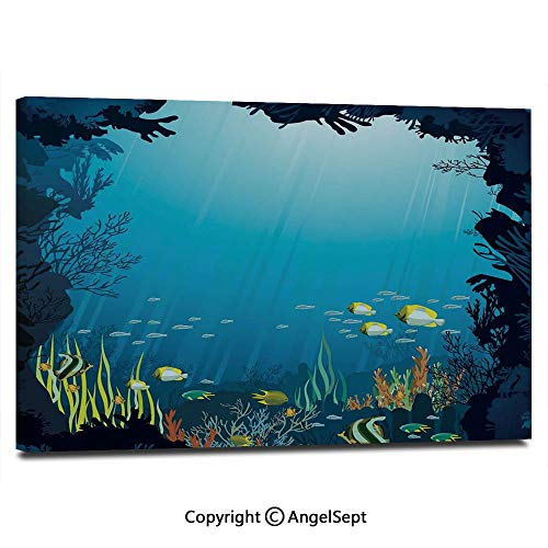 Modern Salon Theme Mural Topical Underwater Cave Fishes Swimming Marine Coral Reefs Exotic Aquatic Beauty Image Painting Canvas Wall Art for Home Decor 24x36inches, Dark Blue