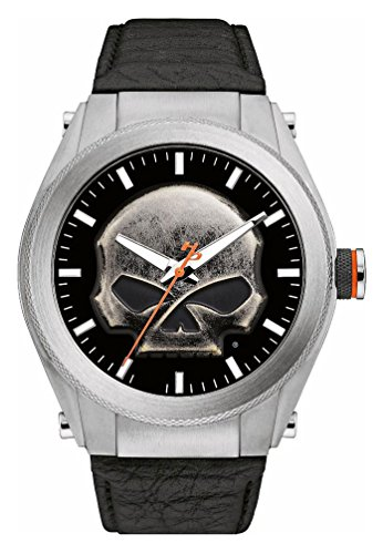 Harley-Davidson Men's Willie G Skull Medallion Stainless Steel Watch