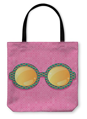 Gear New Shoulder Tote Hand Bag, Retro Eyeglasses With Yellow Reflection, 18x18, - Manufacturers The Us Frames Eyeglass In