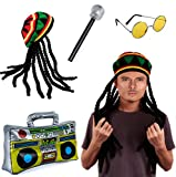 Tigerdoe Rasta Hat with Dreadlocks - 4 Pc Set - Stoner Costume - Jamaican Rasta Hat – Ragae Costume