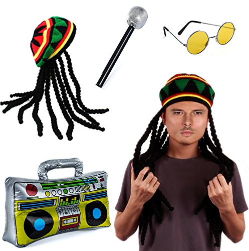 Tigerdoe Rasta Hat with Dreadlocks - 4 Pc Set - Stoner Costume - Jamaican Rasta Hat - Reggae Costume Black]()