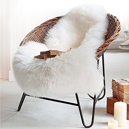 LOCHAS Deluxe Super Soft Fluffy Shaggy Home Decor Faux Sheepskin Silky Rug for Bedroom Floor Sofa ChairChair Cover Seat Pad Couch Pad Area Carpet2ft x 3ft Ivory White