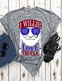 i top - Ezcosplay Women Letter Print Short Sleeves Independence Day Crew Neck Tee Tops
