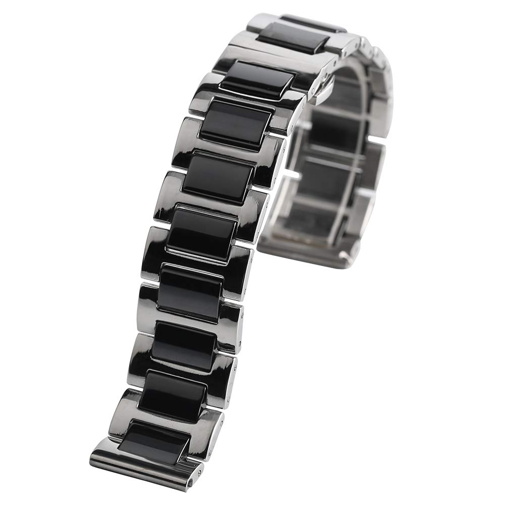 18mm 20mm Black Stainless Steel Watches Band Ceramics Style Classic, Replacement Wrist Bracelet
