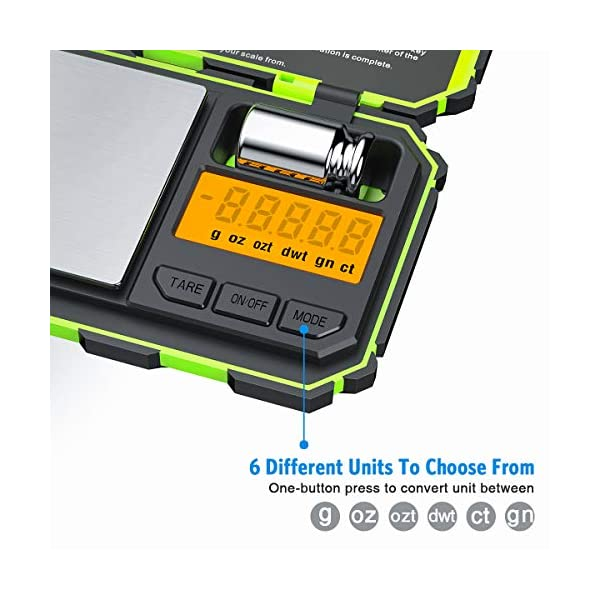 (2020 New) Digital Pocket Scale, 200g-0.01g Mini Scale, Highly Accurate Multifunction with Premium Stainless Steel Finish, LCD Backlit Display, 6 Units, Auto Off, Tare (Green,Battery Included) 51tTKyr77rL