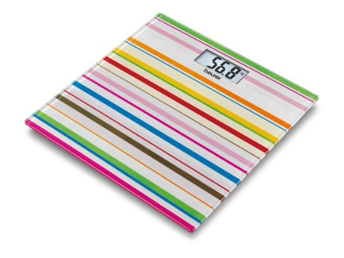 Beurer GS27 Happy Stripes Designer Glass Bathroom Scale