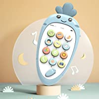 Niome Kids Simulation Mobile Phone Bilingual Music Phone Intelligent Sound Toy for 0-3 Years Toddler Blue