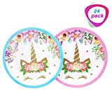 Magical Unicorn Plates Set of 24 Packs,7 Inch for a Birthday Party, Children's Party,or Unicorn Party. (Blue and Pink)