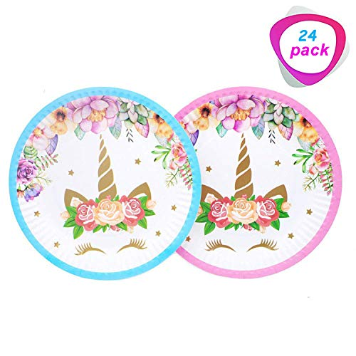 Magical Unicorn Plates Set of 24 Packs,7 Inch for a Birthday Party, Childrens Party,or Unicorn Party. (Blue and Pink)