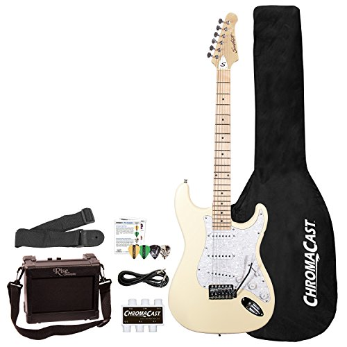 Sawtooth 6 String Solid-Body Electric Guitar, Vanilla Cream with Pearloid White Pickguard, Right-Handed (ST-ES-VCP-BEG-KIT)