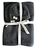 Frost Hats Cashmere Baby Blanket and Hats Set Little Bows (Charcoal)