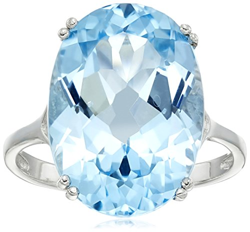 Large Blue Topaz Ring - Sterling Silver 18x13mm Oval Blue topaz Ring, Size 8
