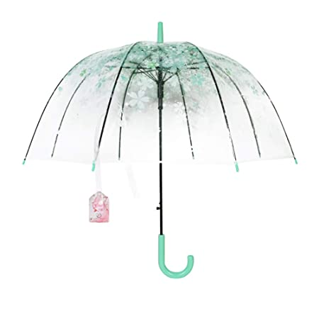 c4ed6818c6392 BeautyPO women's transparent umbrella in birdcage look with romantic  pink cherry details and a