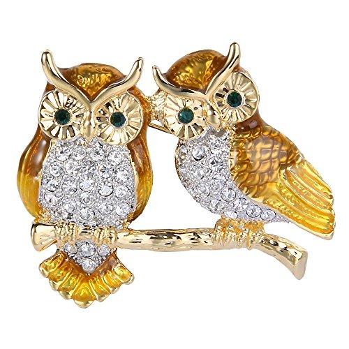 EVER FAITH Gold-Tone Austrian Crystal Brown Enamel 2 Owls Bird Lover Brooch Pin Clear
