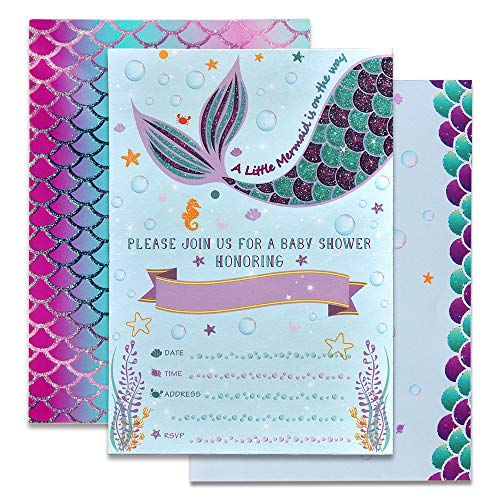 WERNNSAI Mermaid Baby Shower Party Invitations - 20 Set Magical Glitter Fill In Mermaid Invitations with Envelopes for Girls Under The Sea Themed Party Supplies -