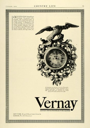 1925 Ad Vernay Sheraton Dining Room Chippendale Carved Wood Clock New York - Original Print Ad