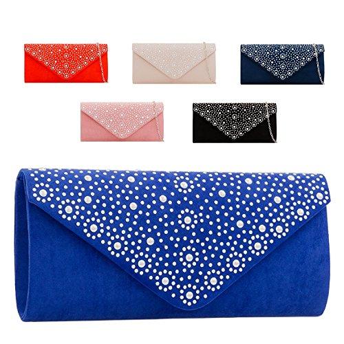 Clutch Evening Black Bag Handbag Ladies KH2210 Purse Diamante Party Envelope Suede Women's qxpnYwE6B