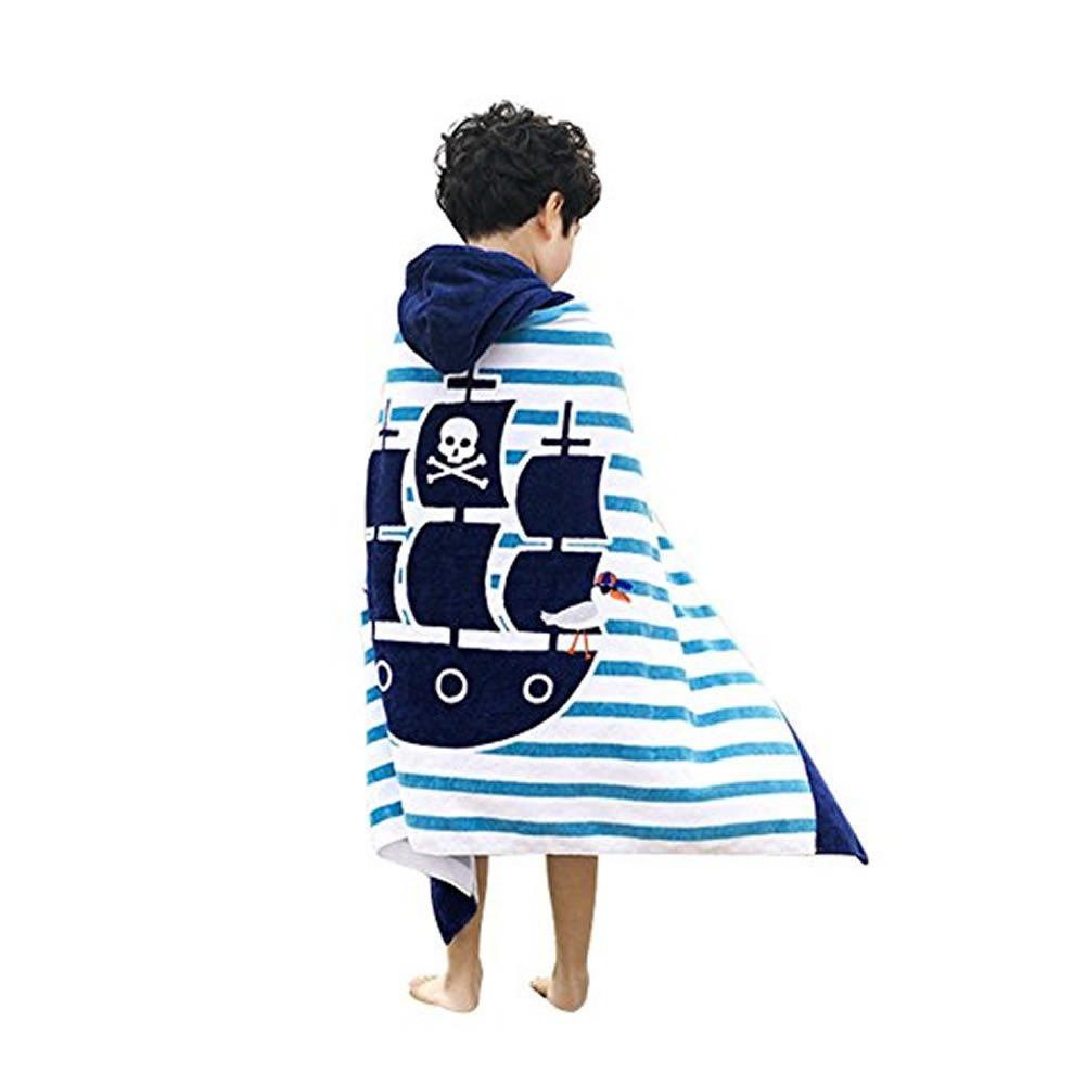 Xuzirui Kids Children Hooded Poncho Swim Cute Beach Bath Towel for Girls / Boys (Pirate)