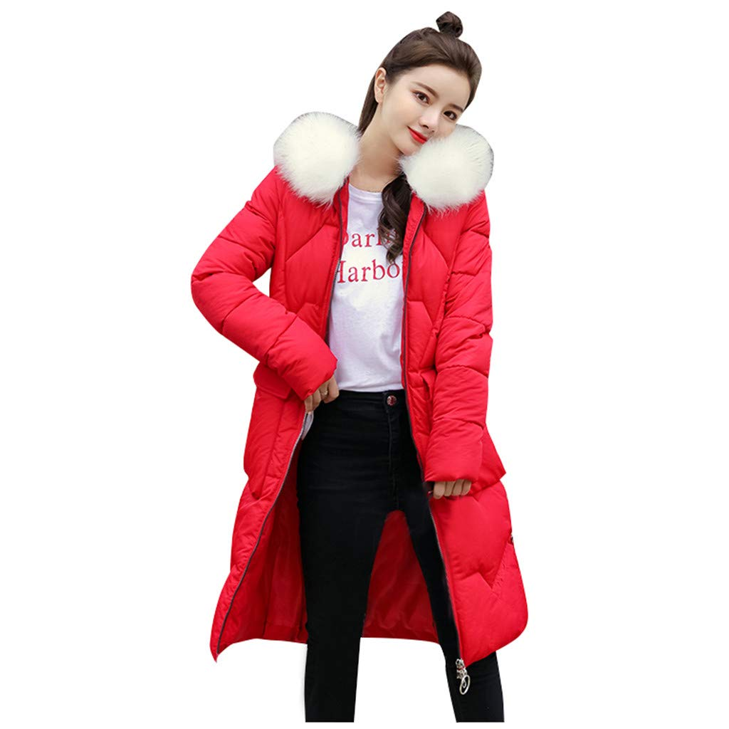 Bollysky Females Comfort Overcoat Winter Warm Hooded Thick Faux Fur Warm Slim Jacket Long Overcoat Coat for Casual Wear by Bollysky