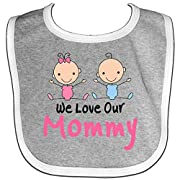 Inktastic - Girl and Boy Twins Love Mommy Baby Bib Heather/White