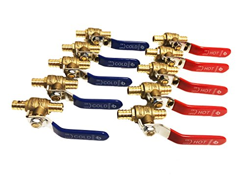 1//2 Lead Free Pex Brass Ball Valve for Hot /& Cold Water pack of 10