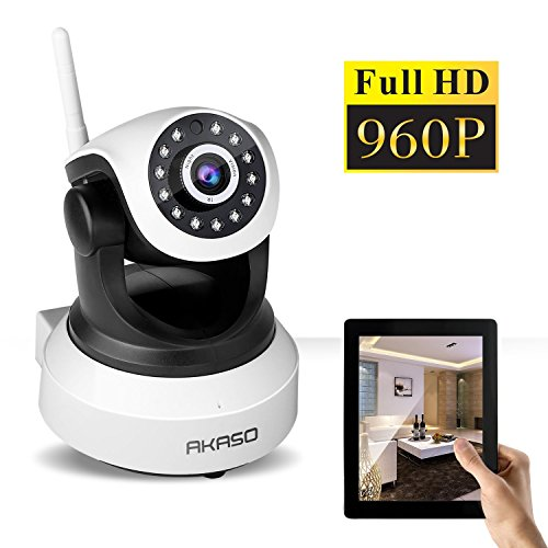 AKASO Wireless 960P IP camera Wifi Security Home Indoor Monitoring Surveillance Network Webcam Pan/Tilt Video Surveillance Baby Monitor 2 Way Audio SD Card Slot Day/Night Vision(IP13M-903)