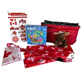 Canada Day Party Supplies Fun Bundle Pack - Tattoos Puzzle Lanyard Scarf Mini Cuddle Calm Moose Disposable Rain Poncho in Ruby Red Pouch Bag(Ref01)