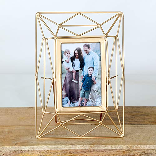 Picture Frame 4x6 - Wall Mounting Photo Frames or Tabletop Display Wire Picture Frame for Desktop or Wall or Office Desk or Home Decor, Metal, Gold Finish ()