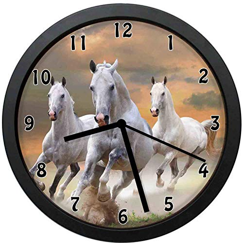 YiiHaanBuy Horses Decorative Wall Clock,Stallion Horses Running on a Mystic Sky Equestrian Male Champions-Office,Bedroom,Kitchen,Bathroom,Silent Battery Quartz Wall clock-12 inch