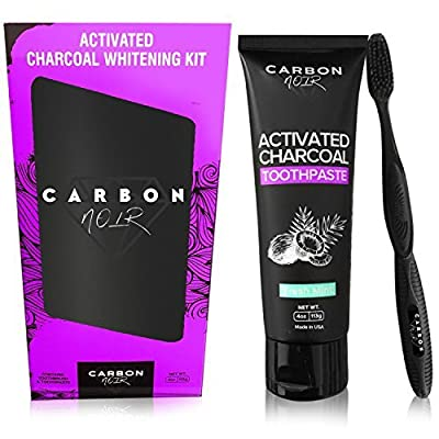 Activated Charcoal Toothpaste Teeth Whitening Kit w/ Coconut Oil Includes Black Binchotan Toothbrush - Made in USA - Natural Whitener, Fluoride Free - No messy powder or strips - Removes Tooth Stains