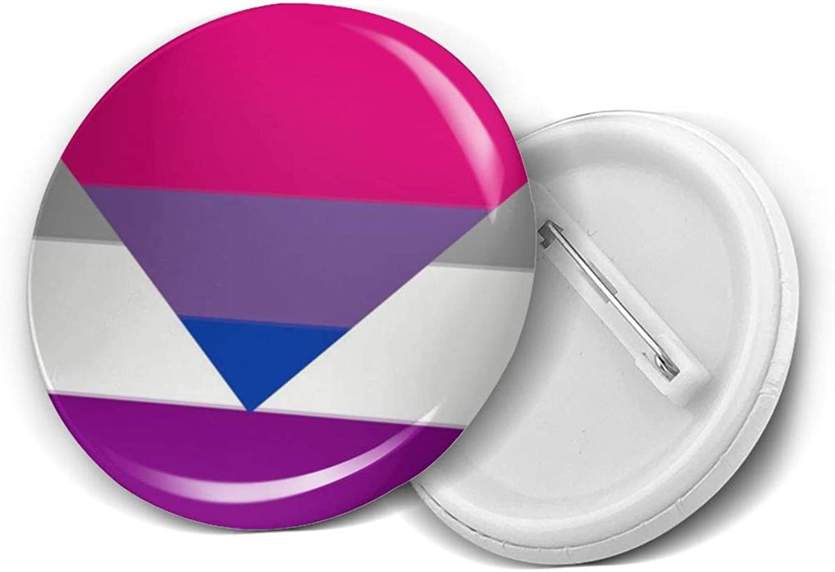 Biromantic Bi Bisexual Ace Asexual Pride Flag Round Brooch Badge Pins For Women Men Girls T Shirt Bag Backpacks Hat Accessories
