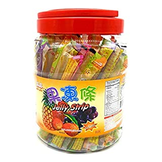 Jin Jin Fruit Jelly Filled Strip Straws Candy - Many Flavors! (35.26 oz) - SET OF 2