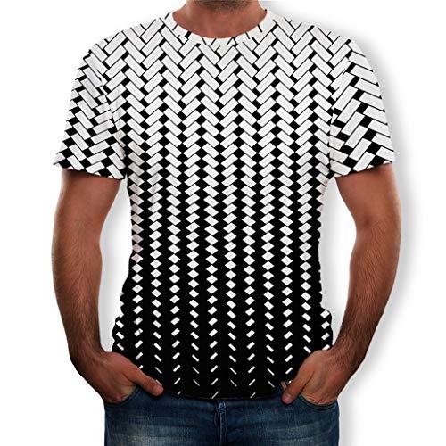 Men's Summer Comfort Blouse 3D Printed Short Sleeves Fashion Top Black