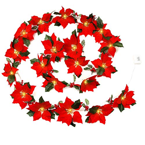 12.5ft Poinsettia Christmas Garland with Lights Battery Operated 8 Blinking Modes 20 LED, Pre-Lit Velvet Artificial Poinsettia Christmas Decorations with Red Berries and Holly Leaves
