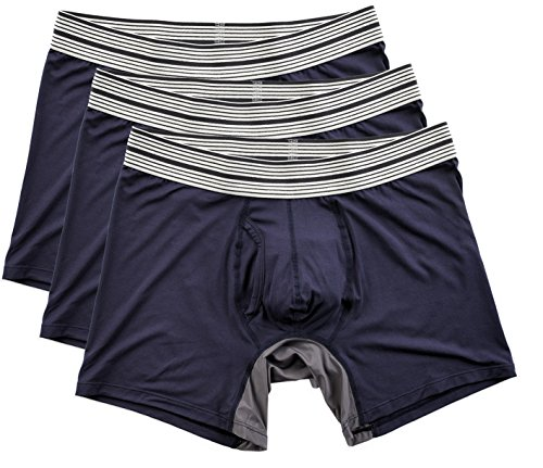 Mr. Davis Men's Bamboo Viscose Mid Cut Boxer Brief Underwear, XXL, Navy, 3 (Company Brief)