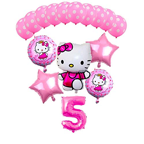 CuteTrees Hello kitty Theme 5th birthday balloons birthday decoration 16 pcs for $<!--$19.99-->