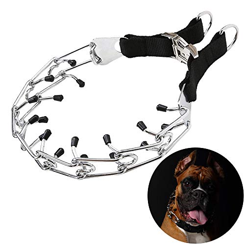 Detachable Ring Girth (ASOCEA Dog Prong Training Collar Stainless Steel Adjustable Pet Shock Collar with Snap Buckle and Rubber Caps for Medium and Large Aggressive Dogs)