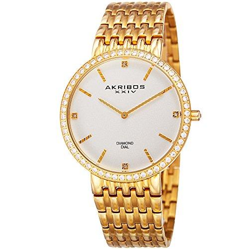 Akribos XXIV Essential Mens Dress Watch - Matte Dial - Japanese Quartz - Diamond Accented - Stainless Steel Strap - Yellow Gold ()